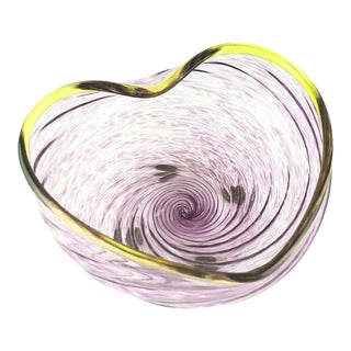 Ed Francis Off Center Studio Art Glass Bowl Heart Signed 1998 For Sale