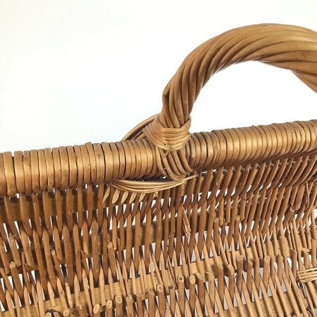 Vintage Wicker Log Basket & Magazine Rack For Sale - Image 9 of 13