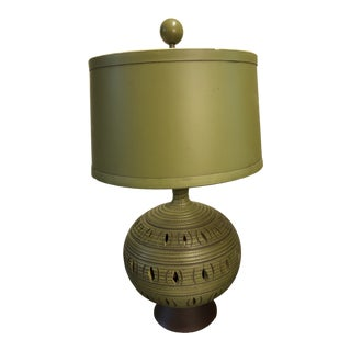 1960s Mid Century Modern Ceramic Lamp With Night Light Base With Shade For Sale