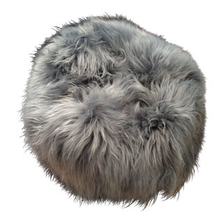 Gambrell Renard Grey Sheepskin Ottoman For Sale
