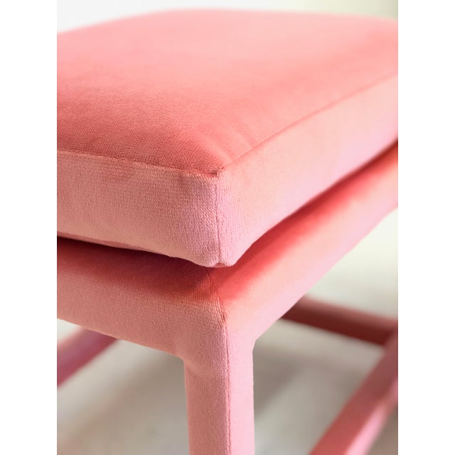 1960s A Pair of Newly Upholstered Pink Velvet Parsons Stools For Sale - Image 5 of 6