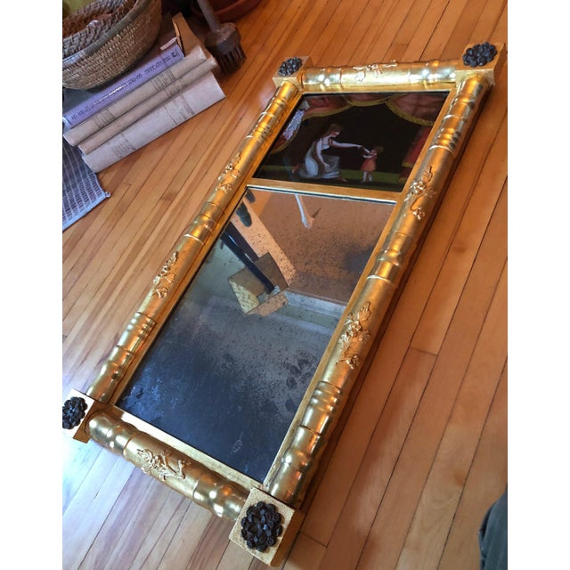 Metal 19th Century American Gilt Eglomise Original Wall Mirror For Sale - Image 7 of 13