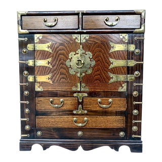Asian Campaign Brass and Wood Nightstand