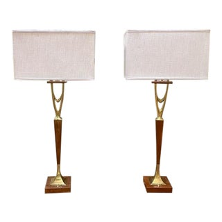 Pair, Gerald Thurston, Laurel Lamp Style Wishbone Table Lamps For Sale