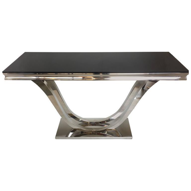 Modern Chrome Black Glass Console Table Chairish