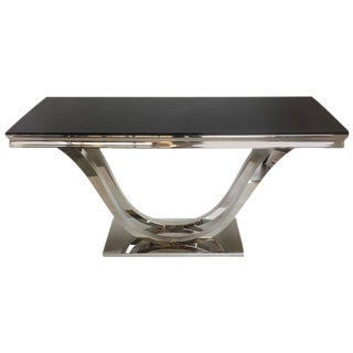 Modern Chrome & Black Glass Console Table For Sale