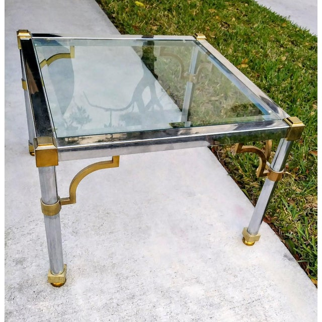 Master Craft Vintage Brass Chrome Fret Work Corner Glass Top End Side Table For Sale In West Palm - Image 6 of 6