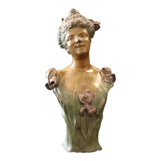 Circa 1900 Bradley & Hubbard Art Nouveau Bronzed Polychromed Woman Bust Sculpture For Sale