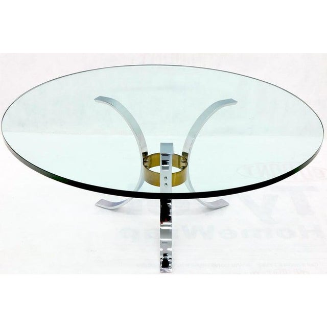 "Transparent Heavy Thick 3/4"" Glass Round Top Chrome & Brass Tripod Base Coffee Table For Sale - Image 8 of 12"