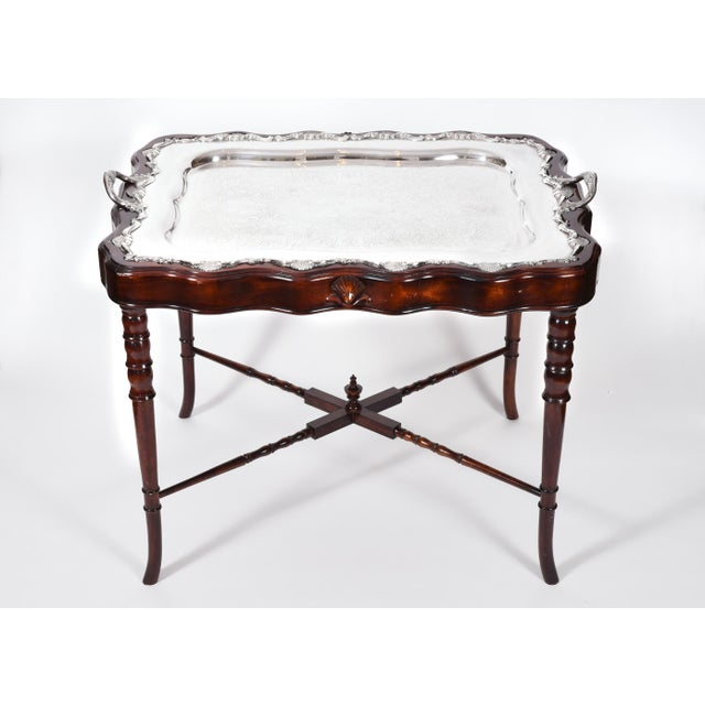 Vintage mahogany wood base frame completely removable silver plate tray table. The tray table is in excellent vintage...