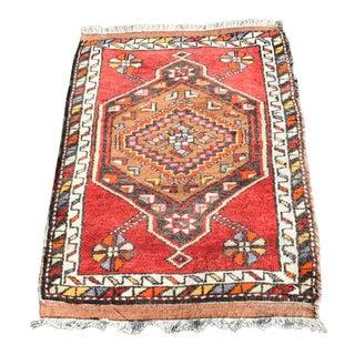 Turkish Vintage Handmade Yastik Rug- 1′8″ × 2′11″ For Sale