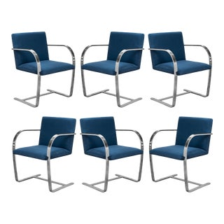 Brno Flat-Bar Chairs in Navy Ultrasuede by Ludwig Mies Van Der Rohe for Knoll - Set of 6 For Sale