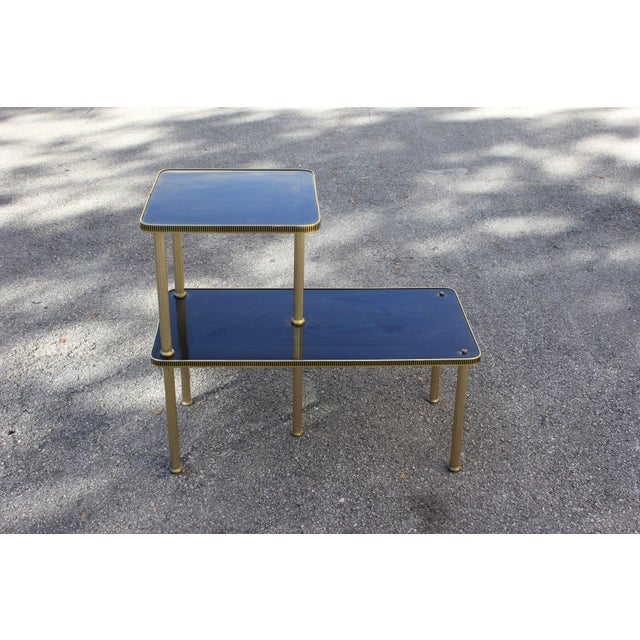 1940s Art Deco Mahogany and Brass Gueridon Side Table For Sale - Image 10 of 13