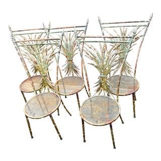 1950s Italian Gilt Metal Wheat Sheaf Chairs-Set of 5 For Sale