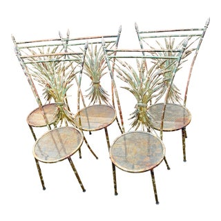 Italian Gilt Metal Wheat Sheaf Chairs-Set of 5 For Sale