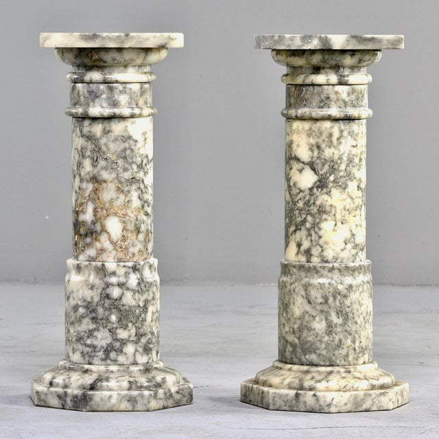 Italian Italian Carved Marble Columns or Pedestal Stands - a Pair For Sale - Image 3 of 12