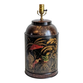 Chinoiserie Design Tole Canister Table Lamp For Sale
