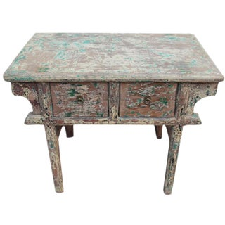 Distressed Ming 2-Drawer Entry Table For Sale