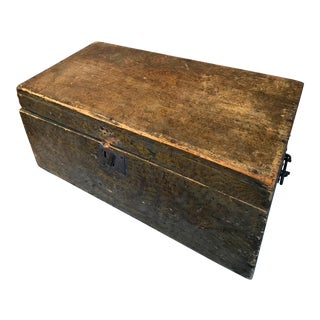 Antique Rustic Mustard Grain Painted Chest For Sale