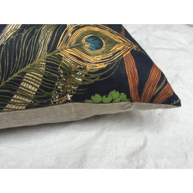 Peacock & Feather Pillows - Pair For Sale - Image 4 of 7