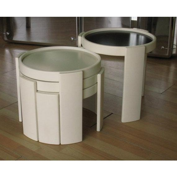 1960s Cassina Stacking White Nesting Tables - Set of 4 For Sale - Image 5 of 7