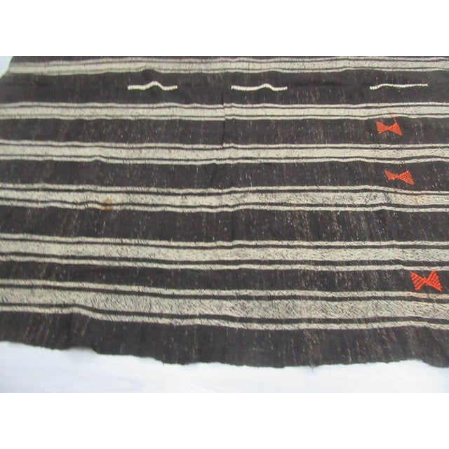 1960's Vintage Kilim Black & Gray Striped Rug- 9′10″ × 10′ For Sale - Image 4 of 6