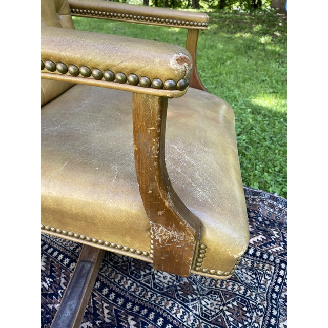 Vintage Executive Tufted Leather Swivel Office Desk Chair For Sale - Image 10 of 13