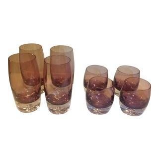 Art Blown Glass Krosno Emethyst Glasses - Set of 8 For Sale