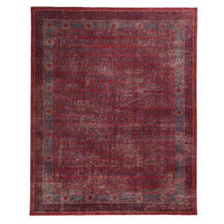 Velvet Red and Blue Wool Rug From RK Distressed Collection - 8′ × 9′11″ For Sale