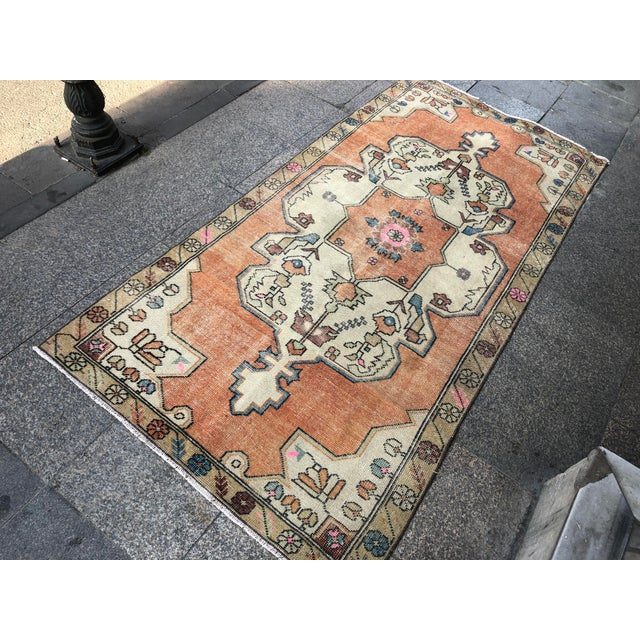 Textile 1960s Vintage Anatolian Floral Rug- 3′8″ × 7′9″ For Sale - Image 7 of 11