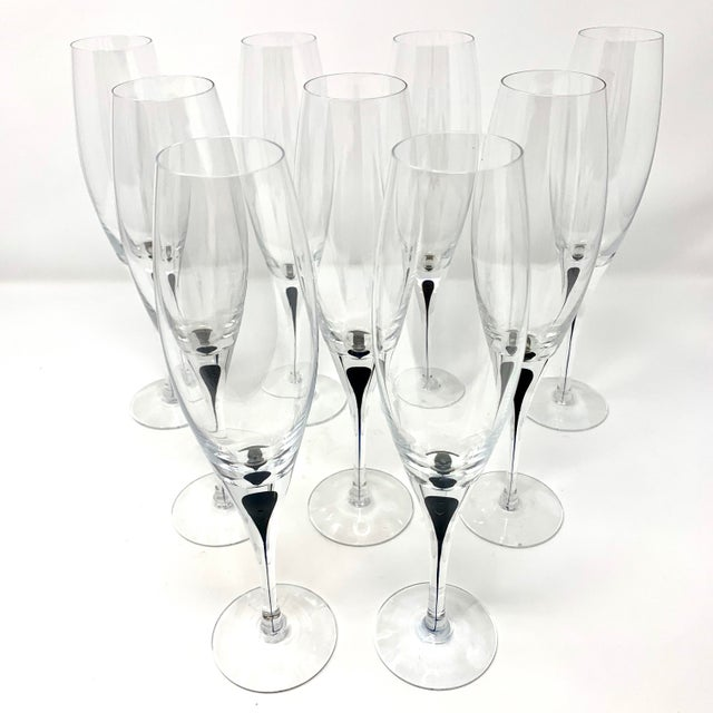 Vintage Orrefors Intermezzo Crystal Champagne Flutes - Set of 9 For Sale - Image 10 of 10