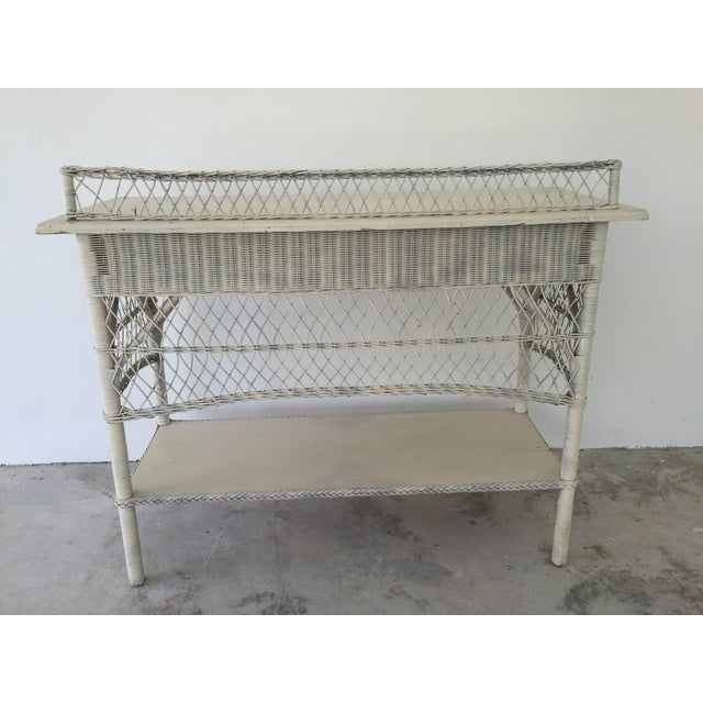 Antique White Wicker Console - Image 3 of 8