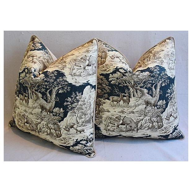 """White 25"""" Custom Tailored Woodland Toile Deer & Velvet Feather/Down Pillows - Pair For Sale - Image 8 of 11"""