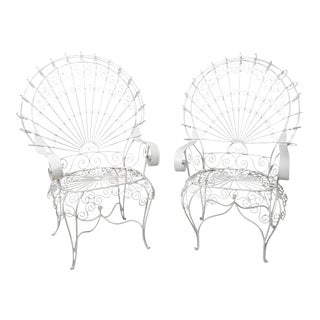 Vintage White Peacock Garden Armchairs - a Pair For Sale