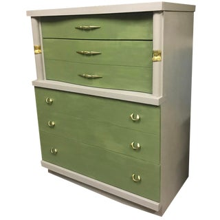 Mid Century Modern Green High Boy For Sale