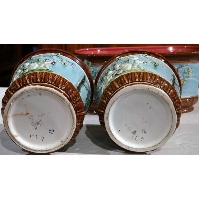 Blue 19th Century French Hand-Painted Barbotine Jardiniere & Cachepots - Set of 3 For Sale - Image 8 of 8