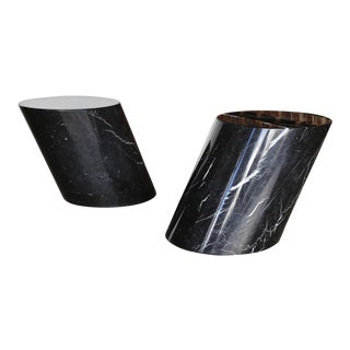 1970s Mid-Century Modern Lucia Mercer for Knoll Marble Stump Tables - a Pair For Sale