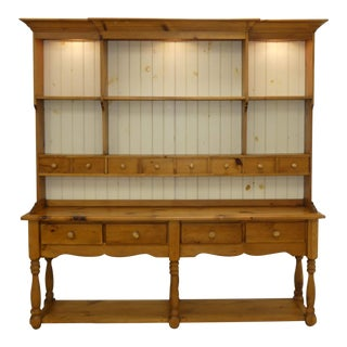 Farmhouse Country Pine Sideboard or Credenza With Hutch For Sale