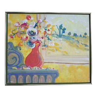 1980s Vintage Floral Still Life Painting by Sarr For Sale