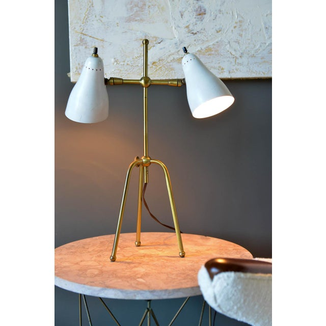 Italian Vintage White and Brass Italian Two-Arm Table Lamp, Circa 1960 For Sale - Image 3 of 9