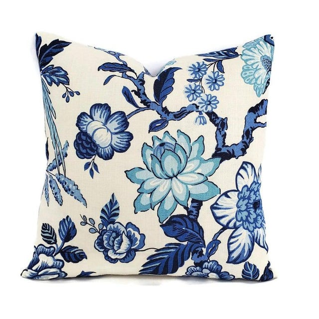 """2010s F. Schumacher Huntington Gardens in Bleu Marine Pillow Cover - 20"""" X 20"""" Blue and Cream Floral Cushion Case - Fabric on Both Sides For Sale - Image 5 of 5"""