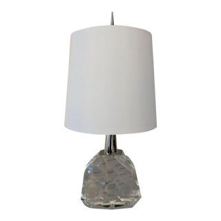 Crystal Accent Table Lamp with White Silk Shade For Sale