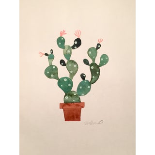 Contemporary Green Cactus Original Watercolor Painting For Sale