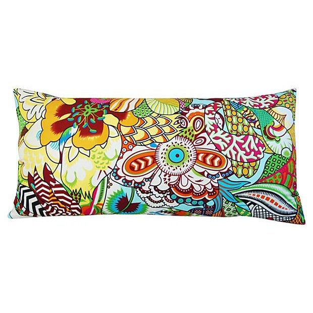 Large Custom Colorful Silk Floral Lumbar Pillow - Image 7 of 7