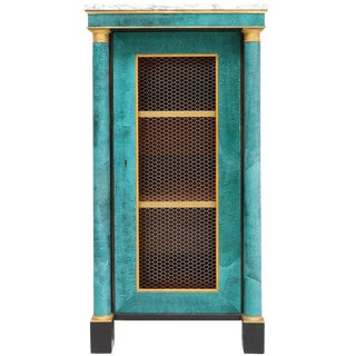 Hollywood regency turquoise leather cabinet For Sale