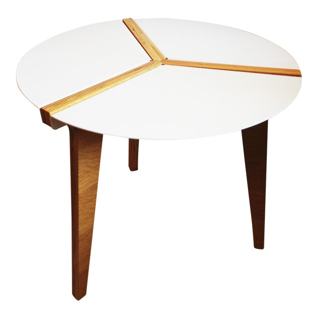 CB2 White Enamel & Bamboo Side Table - Image 1 of 11