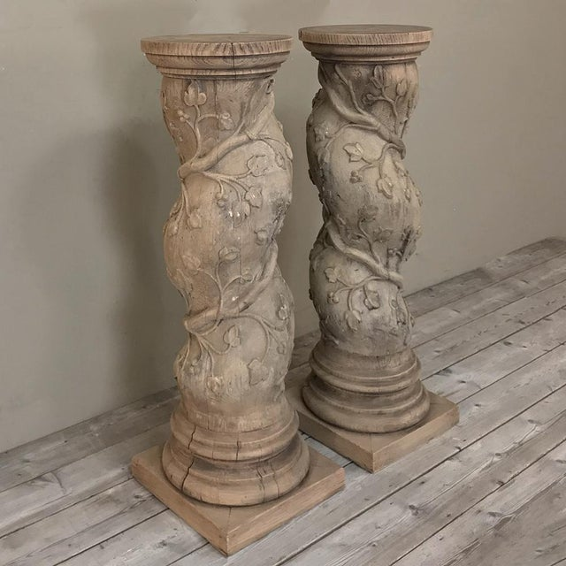 Late 19th Century Pair 19th Century Barley Twist Stripped Pedestals For Sale - Image 5 of 13