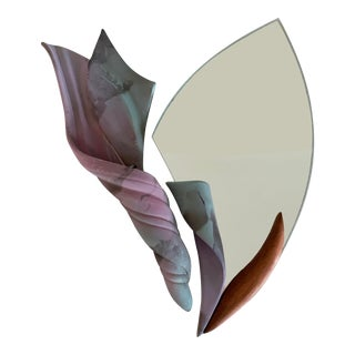 Raku and Walnut Framed Accent Mirror Wall Vase by Jan Jacque - 2 Pieces For Sale