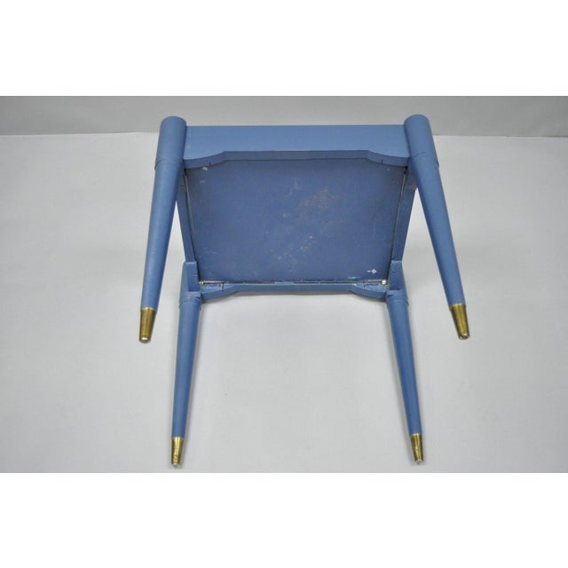 Wood Vintage Mid-Century Modern Danish Style Blue Painted Piano Bench With Sewing Storage For Sale - Image 7 of 11