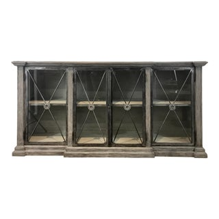Rustic Directoire Style Wood Metal and Glass Sideboard For Sale